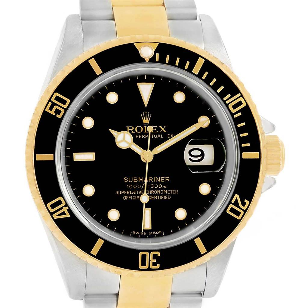 18948 Rolex Submariner Two Tone Steel Yellow Gold Black Dial Watch 16613 SwissWatchExpo