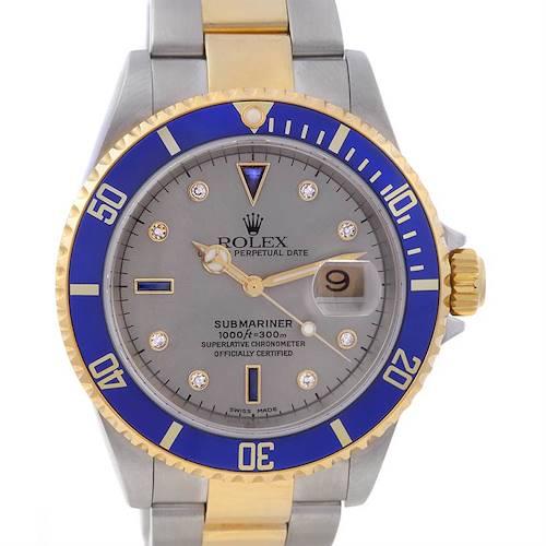 Photo of Rolex Submariner 16613 Ss/18k Gold Diamond Sapphire