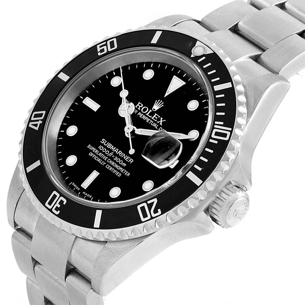 19835 Rolex Submariner Date Black Dial Automatic Mens Watch 16610 SwissWatchExpo