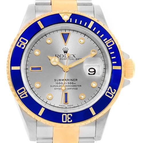Photo of Rolex Submariner Steel Gold Diamond Sapphire Serti Watch 16613 Box Papers
