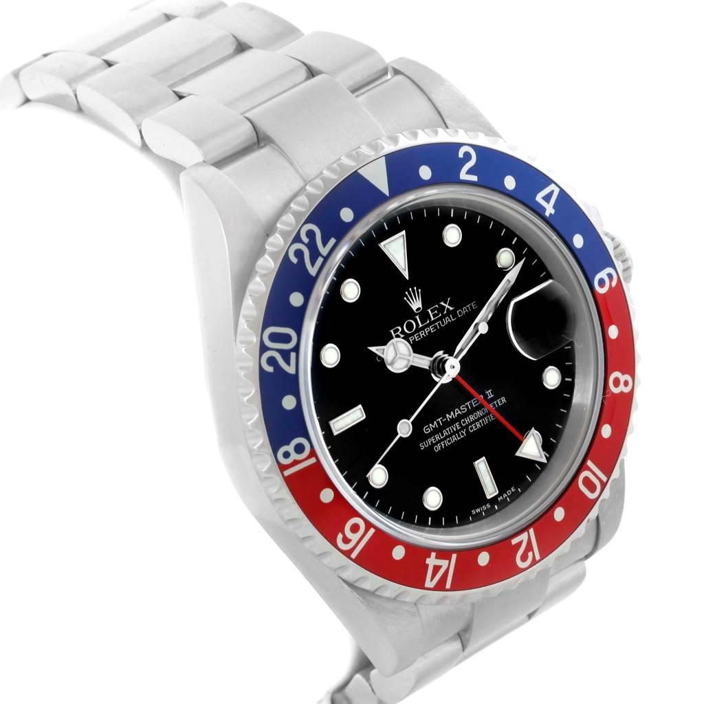 20058 Rolex GMT Master II Blue Red Pepsi Bezel Steel Watch 16710 Box Papers SwissWatchExpo