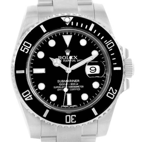 Photo of Rolex Submariner Cerachrom Bezel Black Dial Watch 116610 Box Papers