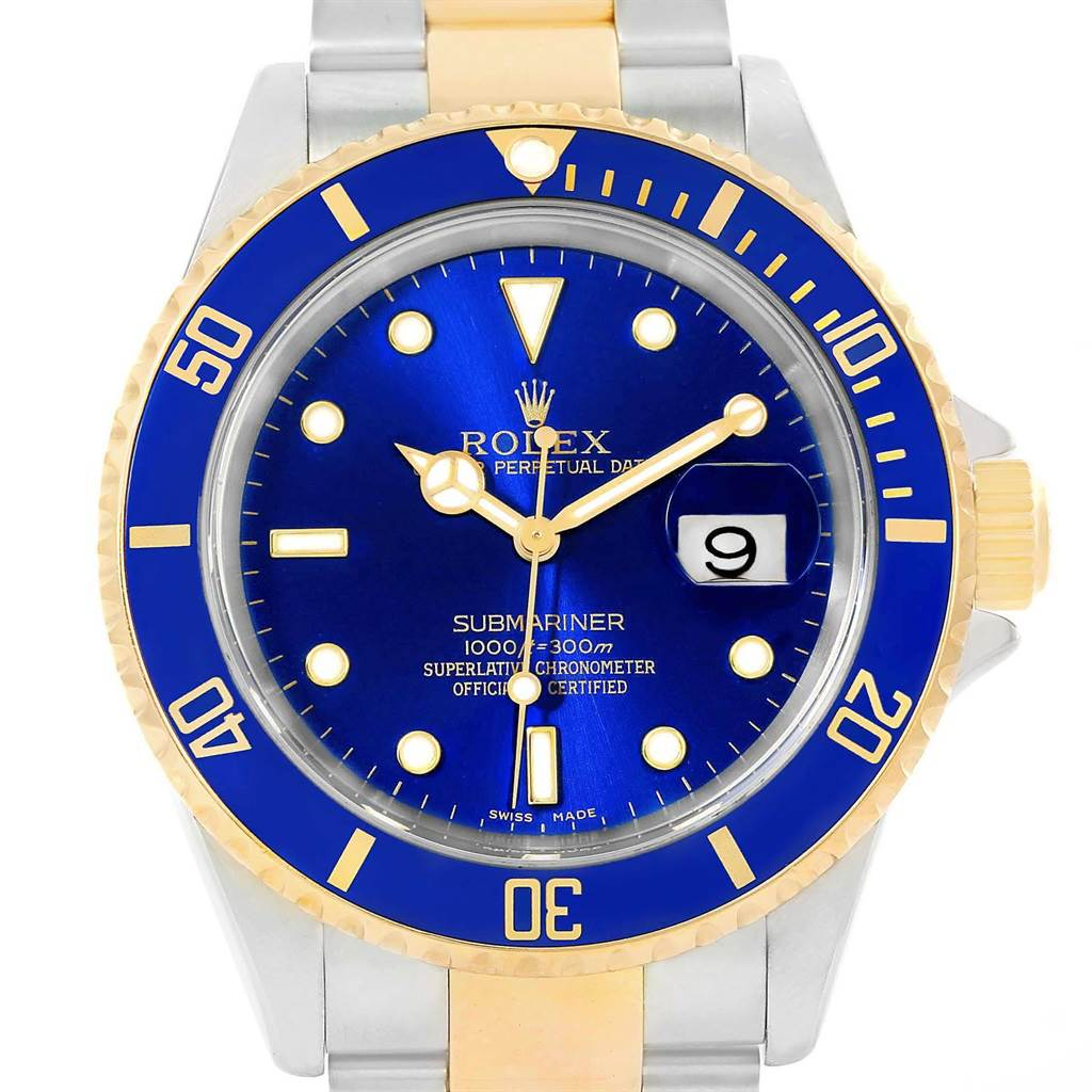 20680 Rolex Submariner 40mm Blue Dial Steel Yellow Gold Mens Watch 16613 SwissWatchExpo