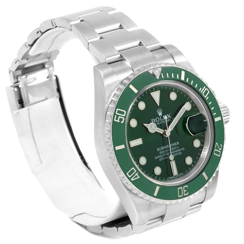20961 Rolex Submariner Hulk Green Dial Bezel Steel Watch 116610LV SwissWatchExpo
