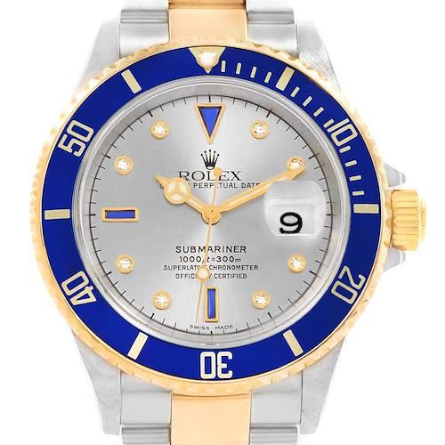 Photo of Rolex Submariner Steel Gold Slate Diamond Sapphire Serti Mens Watch 16613