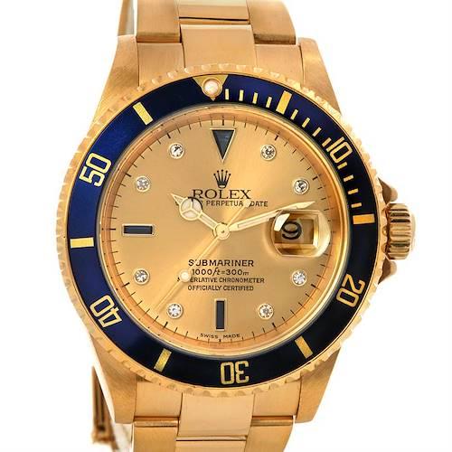 Photo of Rolex Submariner 16618 18k Gold Serti Diamond Sapphire