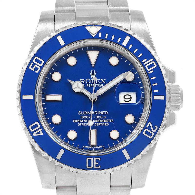 Rolex Submariner 18K White Gold Blue Dial Ceramic Bezel Watch 116619 SwissWatchExpo