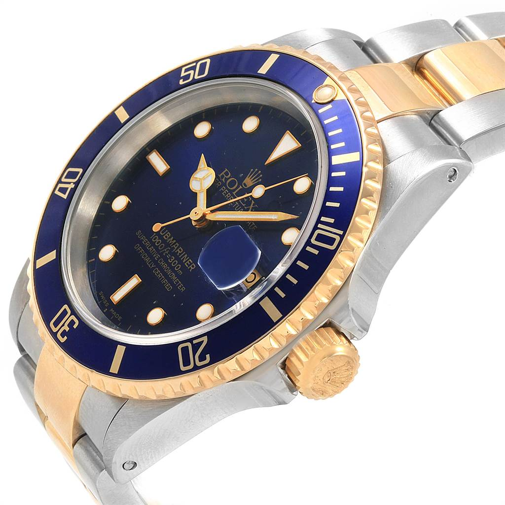 Rolex Submariner Blue Dial and Bezel Steel Gold Watch 16613 Box Papers SwissWatchExpo