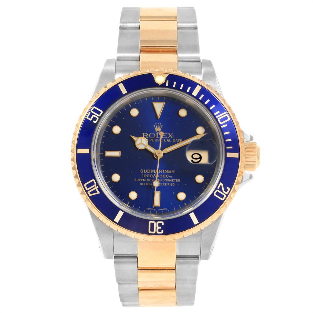 21649 Rolex Submariner Blue Dial and Bezel Steel Gold Watch 16613 Box Papers SwissWatchExpo