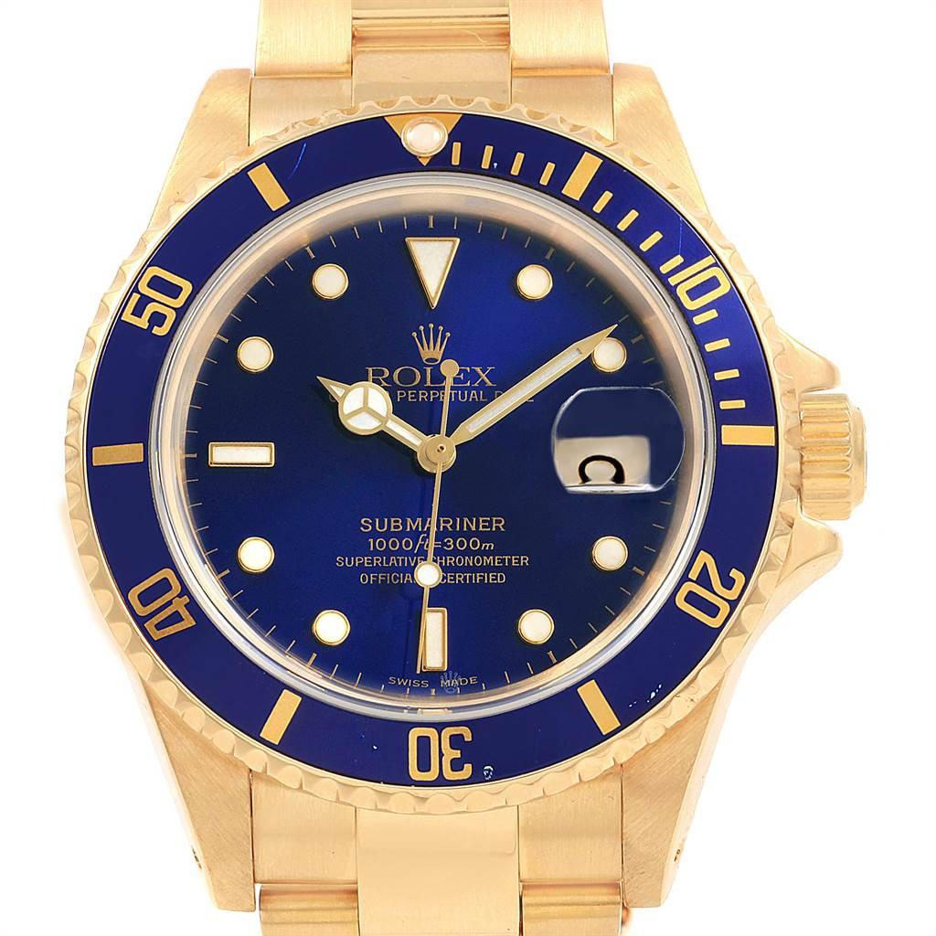 21624 Rolex Submariner 18K Yellow Gold Blue Dial Bezel Mens Watch 16618 SwissWatchExpo