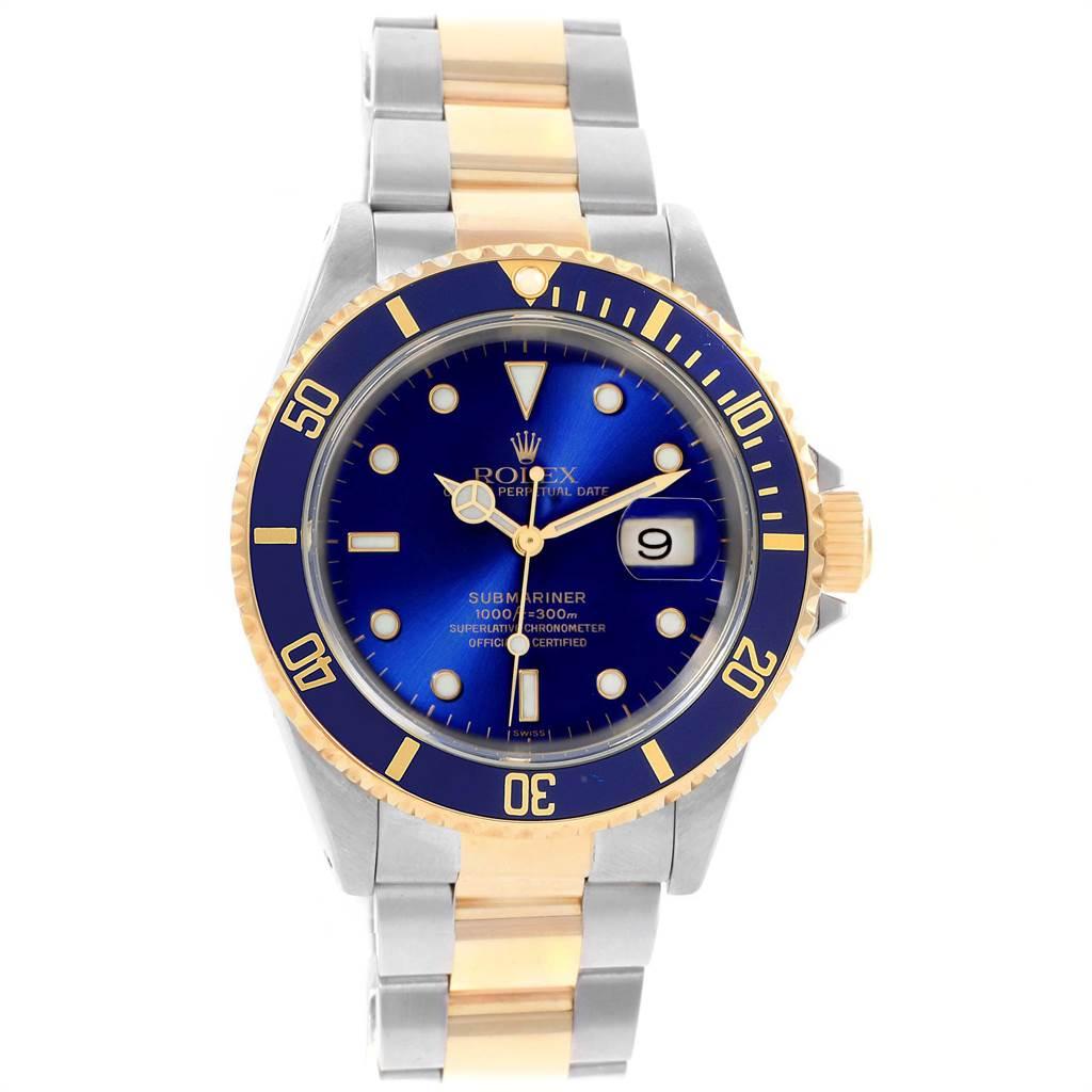 21653 Rolex Submariner 40mm Blue Dial Steel Yellow Gold Mens Watch 16613 SwissWatchExpo