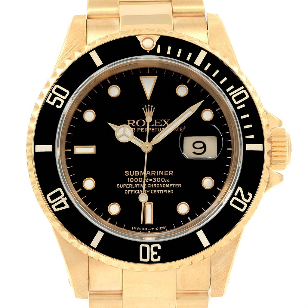 21706 Rolex Submariner 18K Yellow Gold Black Dial 40mm Mens Watch 16618 SwissWatchExpo