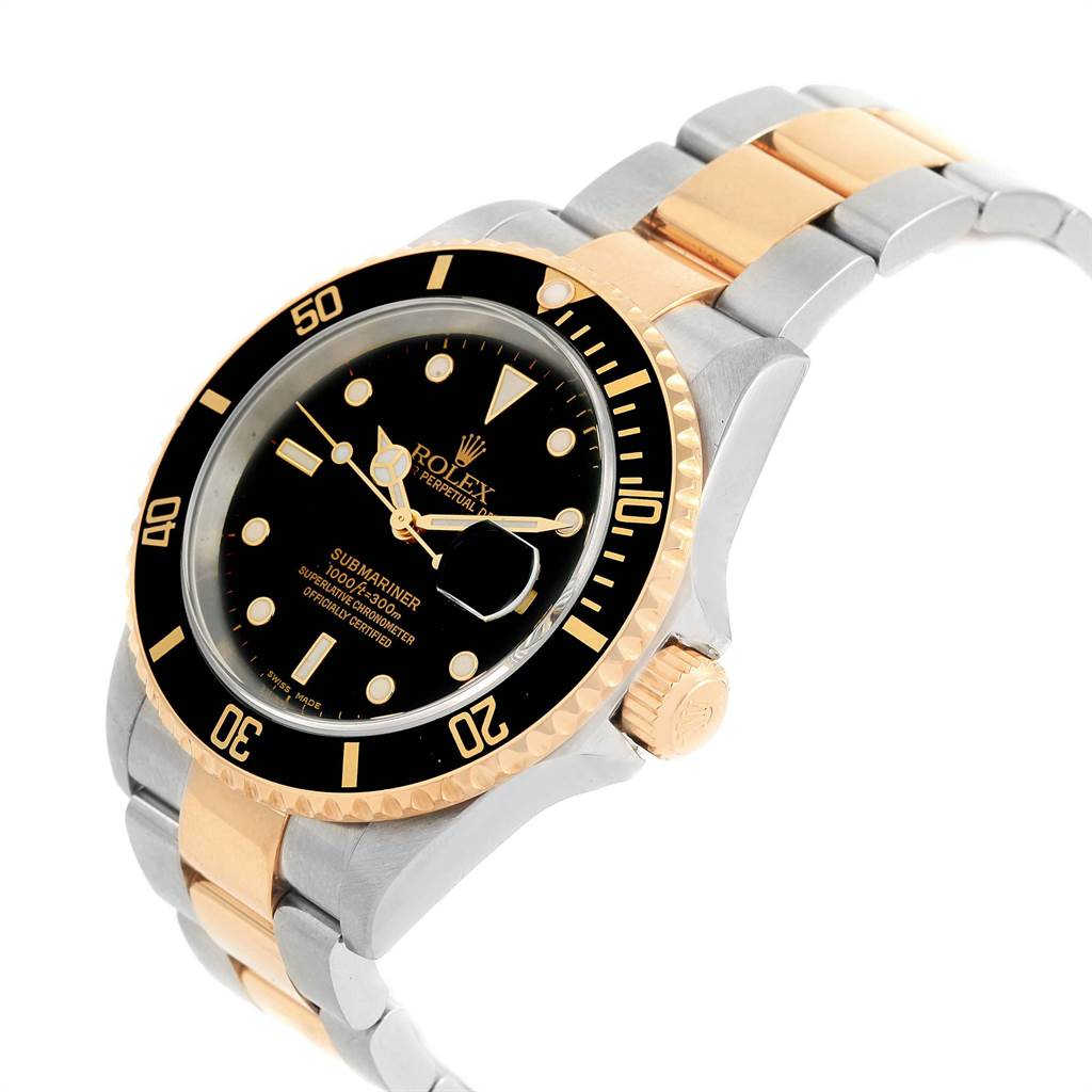 21724 Rolex Submariner 40mm Steel Yellow Gold Mens Watch 16613 Box Papers SwissWatchExpo