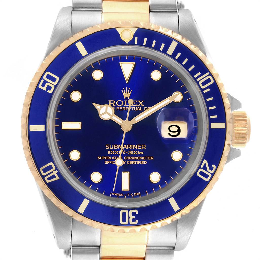 21985 Rolex Submariner Blue Dial and Bezel Steel Gold Watch 16613 Box Papers SwissWatchExpo