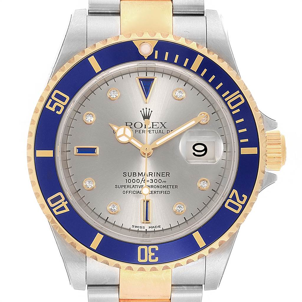 22064 Rolex Submariner Steel Gold Diamond Sapphire Serti Watch 16613 Unworn SwissWatchExpo