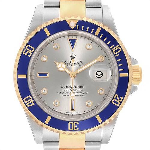 Photo of Rolex Submariner Steel Gold Diamond Sapphire Serti Watch 16613 Unworn