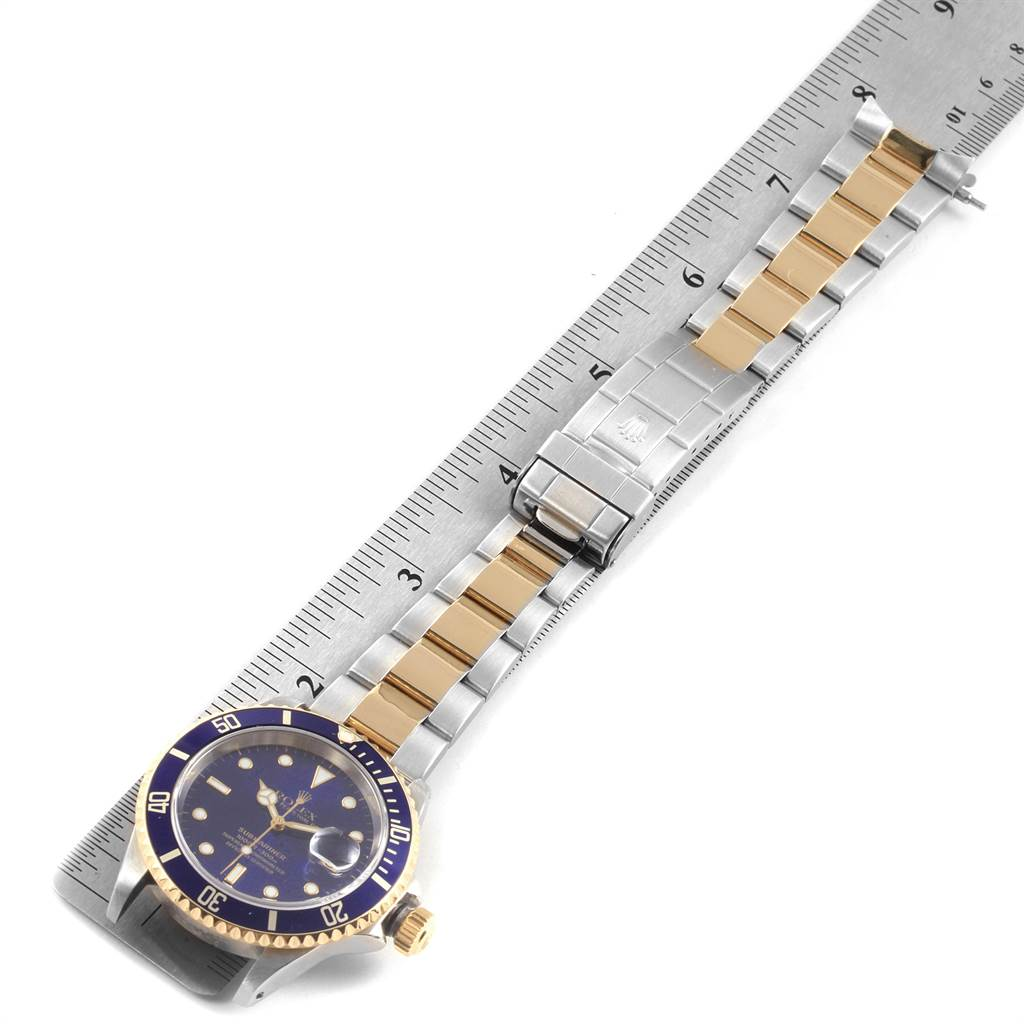 22278 Rolex Submariner Blue Dial Bezel Steel Yellow Gold Mens Watch 16613 SwissWatchExpo