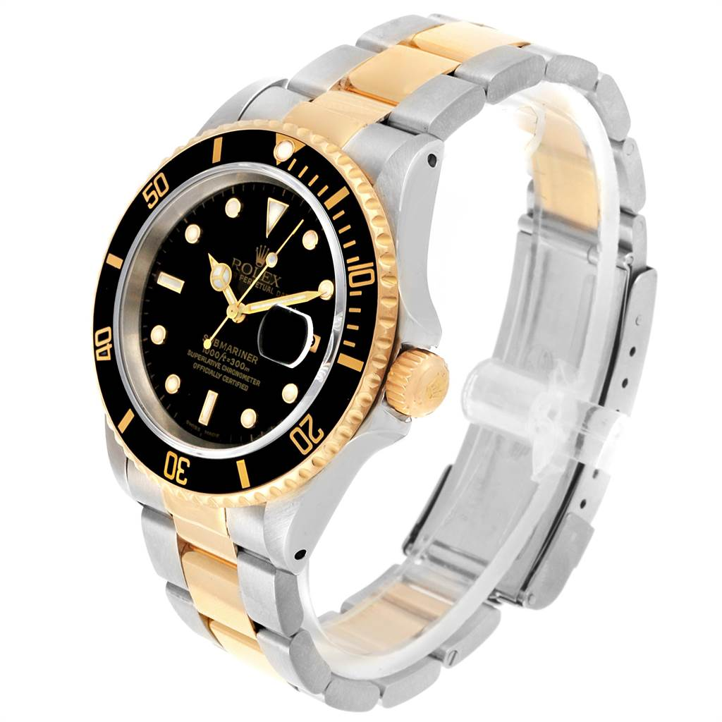 22247 Rolex Submariner 40mm Steel Yellow Gold Mens Watch 16613 SwissWatchExpo