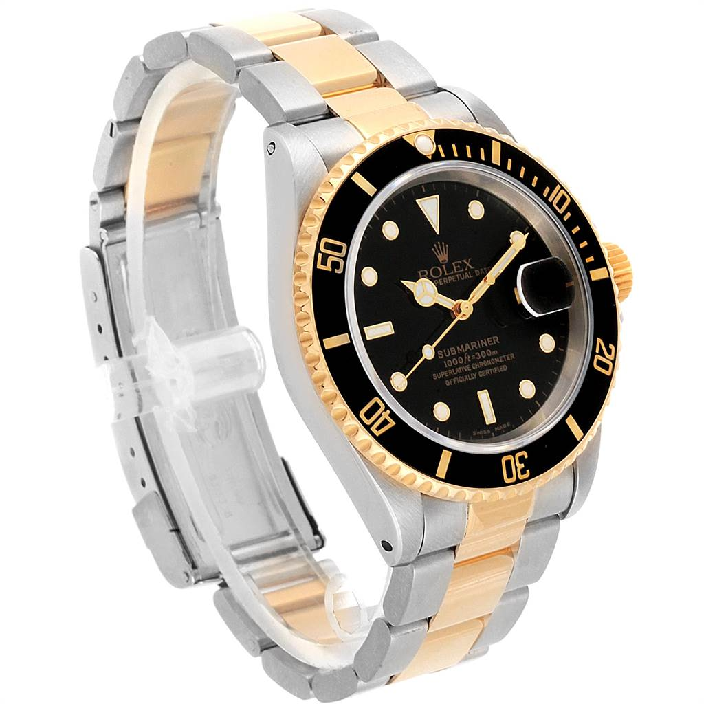 Rolex Submariner 40mm Steel Yellow Gold Mens Watch 16613 SwissWatchExpo