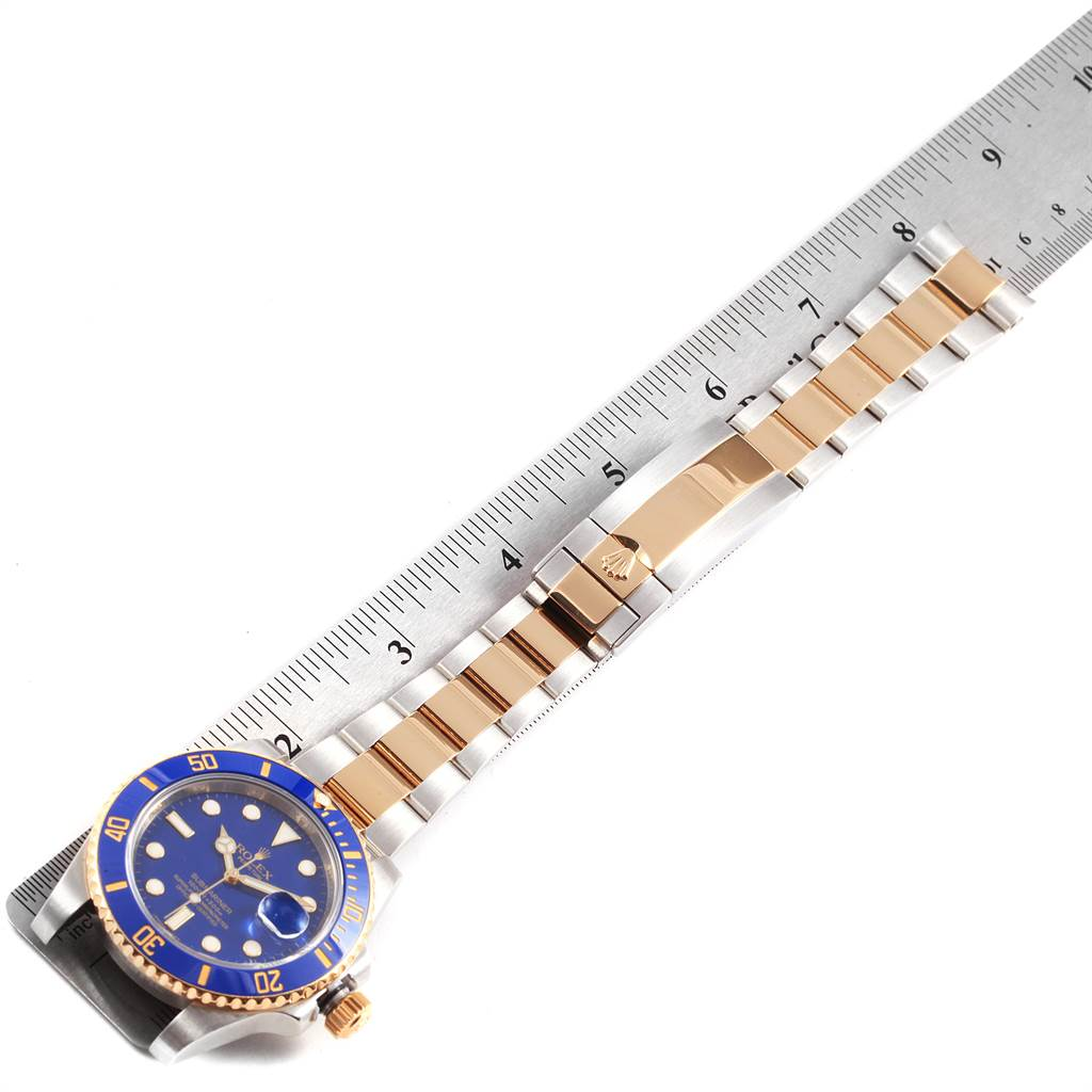 22423 Rolex Submariner Blue Dial Steel Yellow Gold Mens Watch 116613 Box Card SwissWatchExpo