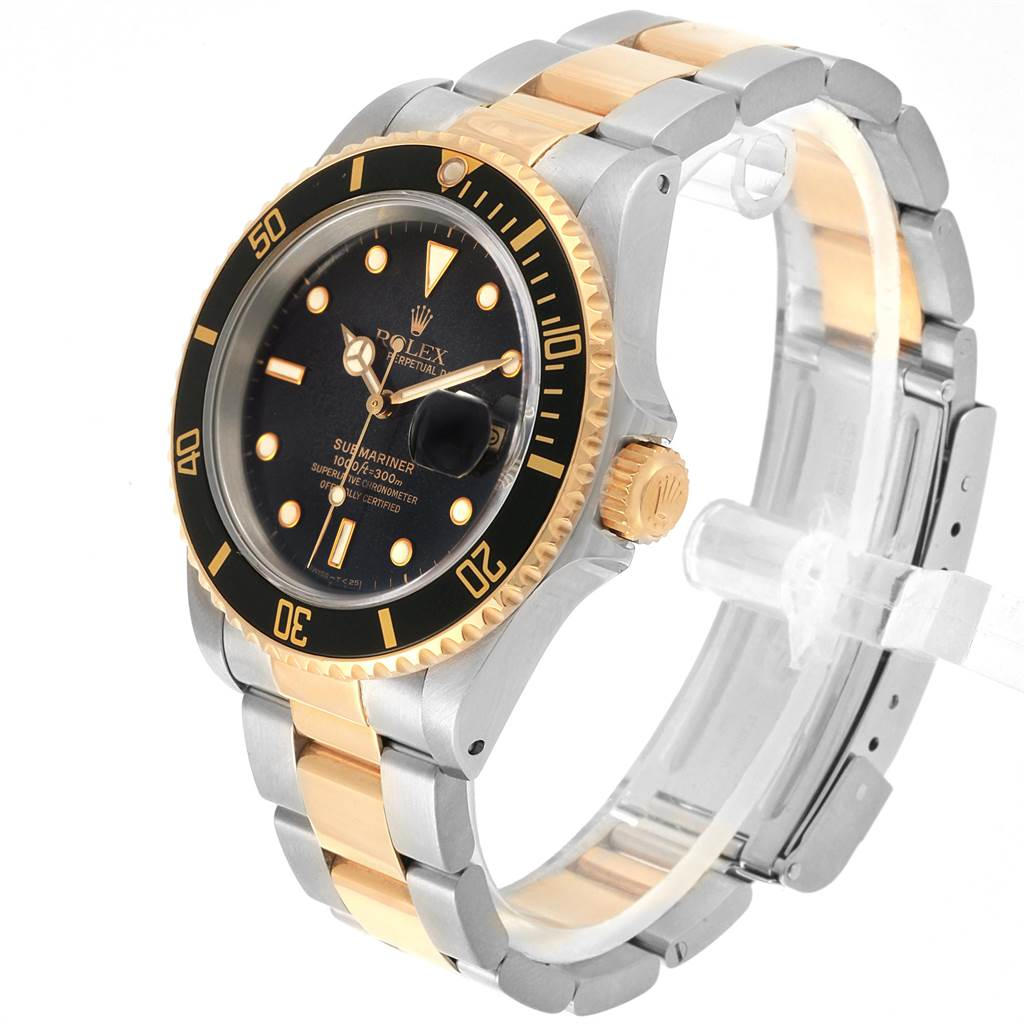 Rolex Submariner Steel Yellow Gold Spider Dial Bezel Mens Watch 16613 SwissWatchExpo