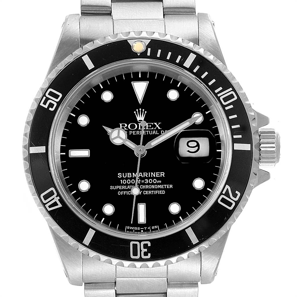 Rolex Submariner 40mm Black Dial Oyster Bracelet Mens Watch 16610 Box SwissWatchExpo