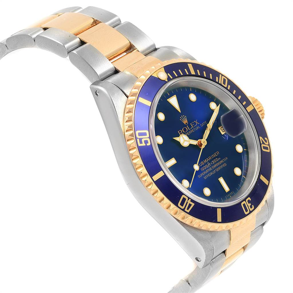 22347 Rolex Submariner Blue Dial Bezel Steel Yellow Gold Mens Watch 16613 SwissWatchExpo