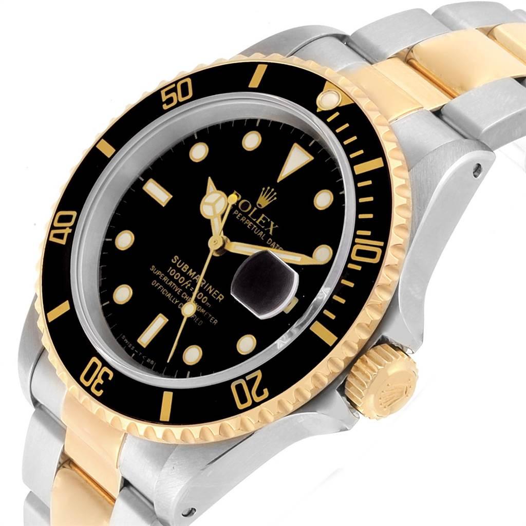 Rolex Submariner Steel Yellow Gold Oyster Bracelet Mens Watch 16613 SwissWatchExpo
