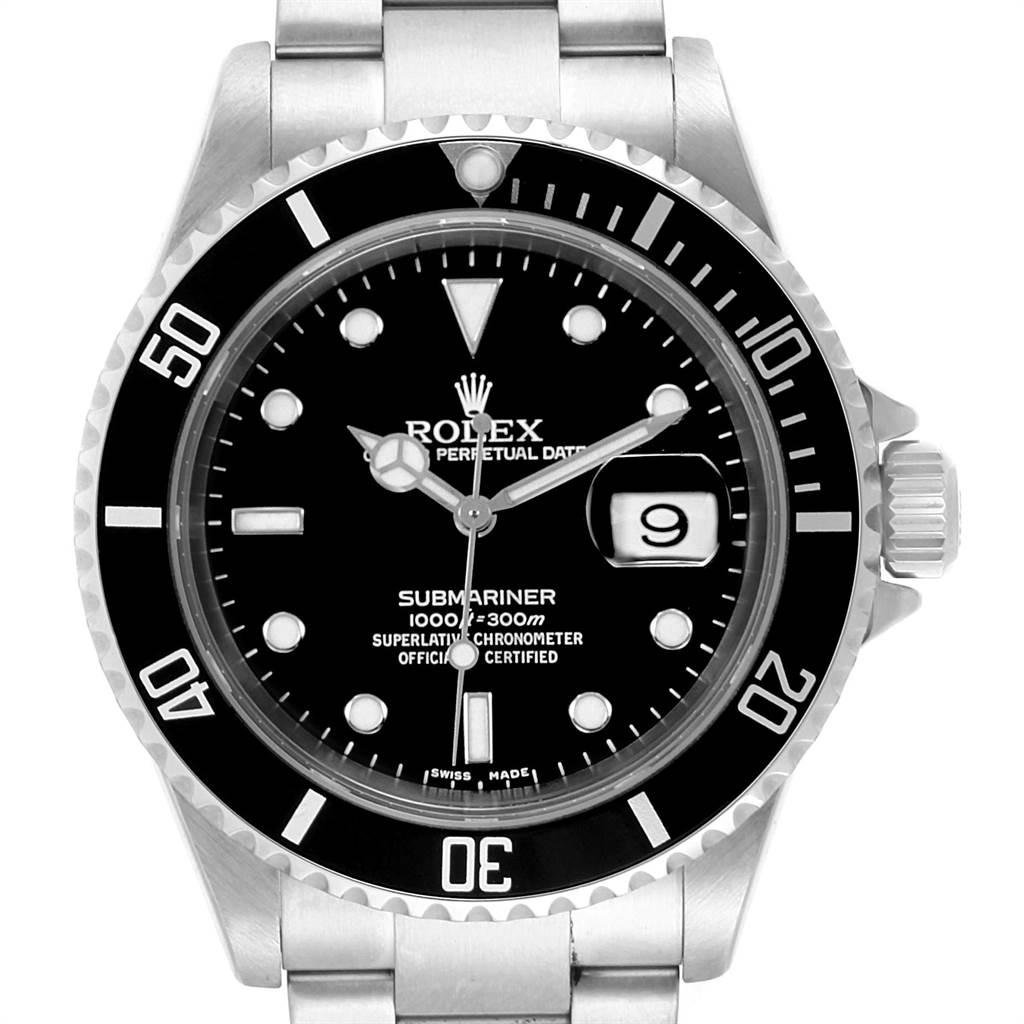 Rolex Submariner Date Oyster Bracelet Automatic Steel Mens Watch 16610 SwissWatchExpo