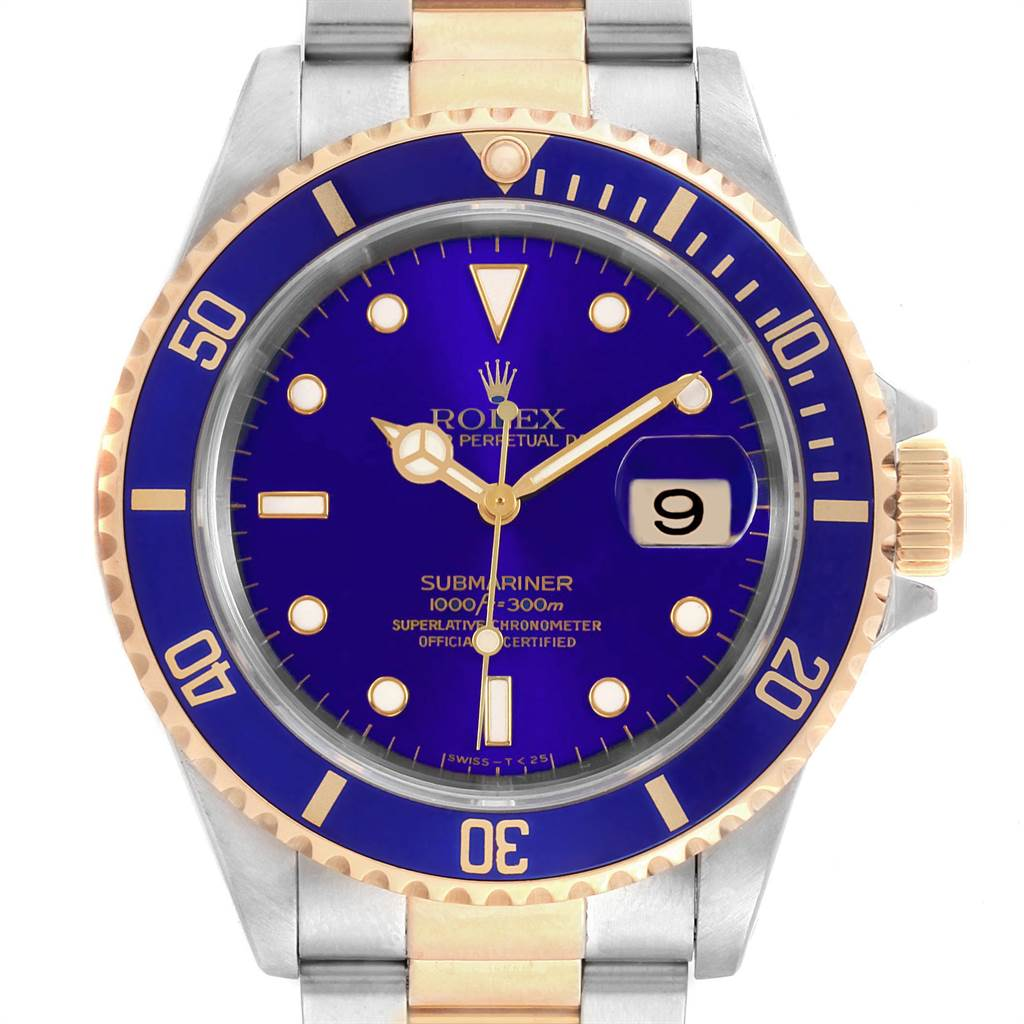 22503 Rolex Submariner Purple Blue Dial Steel Yellow Gold Mens Watch 16613 SwissWatchExpo