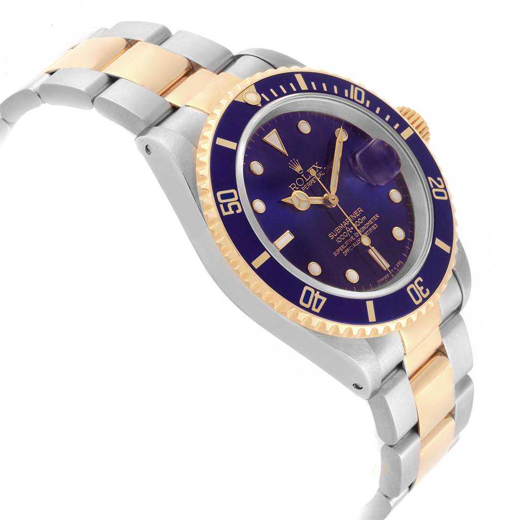 Rolex Submariner Purple Blue Dial Steel Yellow Gold Mens Watch 16613 SwissWatchExpo