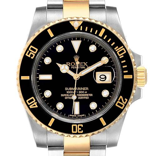 Photo of Rolex Submariner Steel 18K Yellow Gold Black Diamond Dial Watch 116613