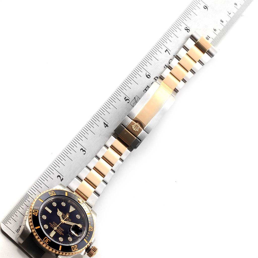 22975 Rolex Submariner Steel 18K Yellow Gold Black Diamond Dial Watch 116613 SwissWatchExpo