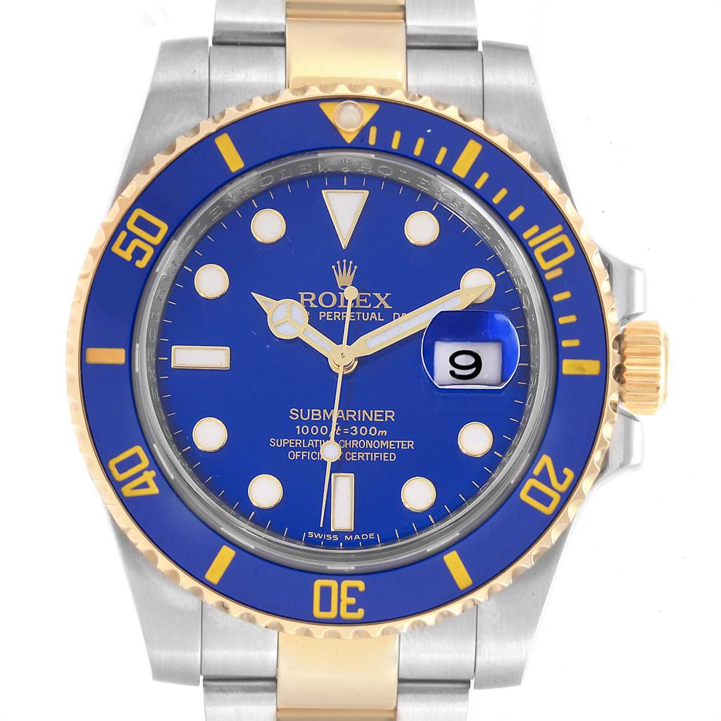 22979 Rolex Submariner Blue Dial Steel Yellow Gold Mens Watch 116613 Box Card SwissWatchExpo