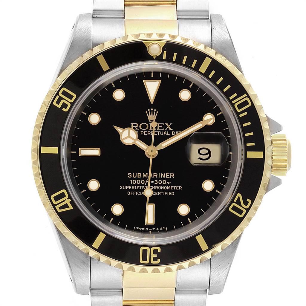 Rolex Submariner Steel Yellow Gold Oyster Bracelet Mens Watch 16613