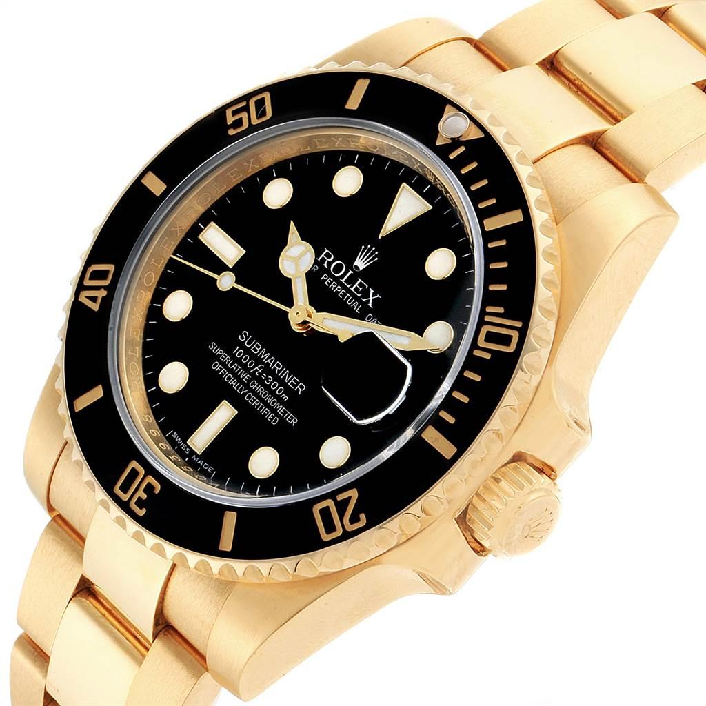 23102 Rolex Submariner Black Dial Yellow Gold Mens Watch 116618 Box SwissWatchExpo