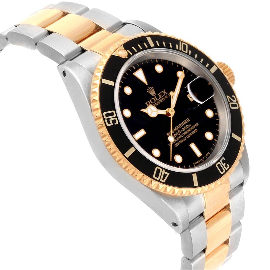 Rolex Submariner Date Steel 18K Yellow Gold Mens Watch 16613 SwissWatchExpo