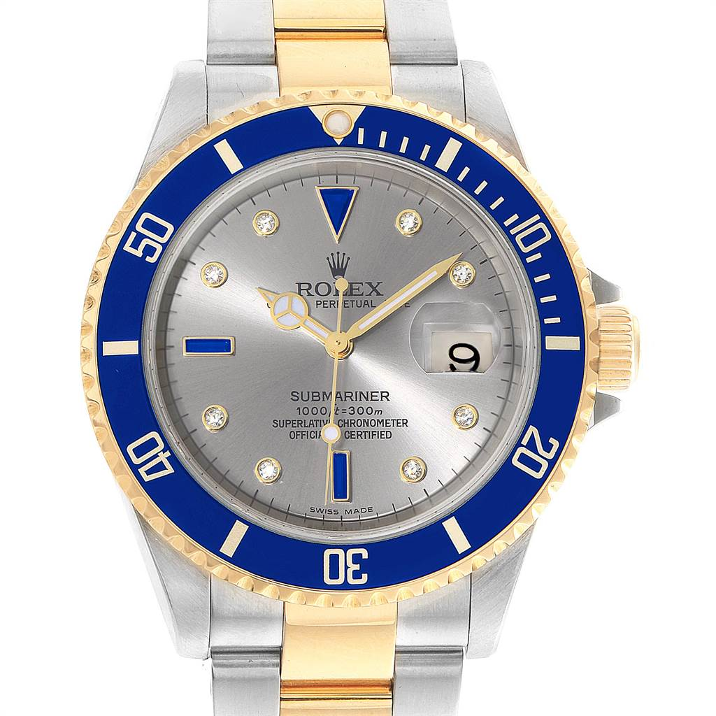 22828 Rolex Submariner Steel Gold Slate Diamond Sapphire Serti Mens Watch 16613 SwissWatchExpo