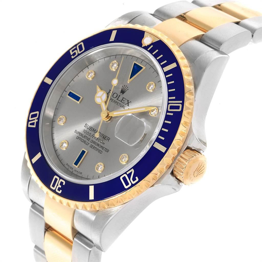 Rolex Submariner Steel Gold Slate Diamond Sapphire Serti Mens Watch 16613 SwissWatchExpo