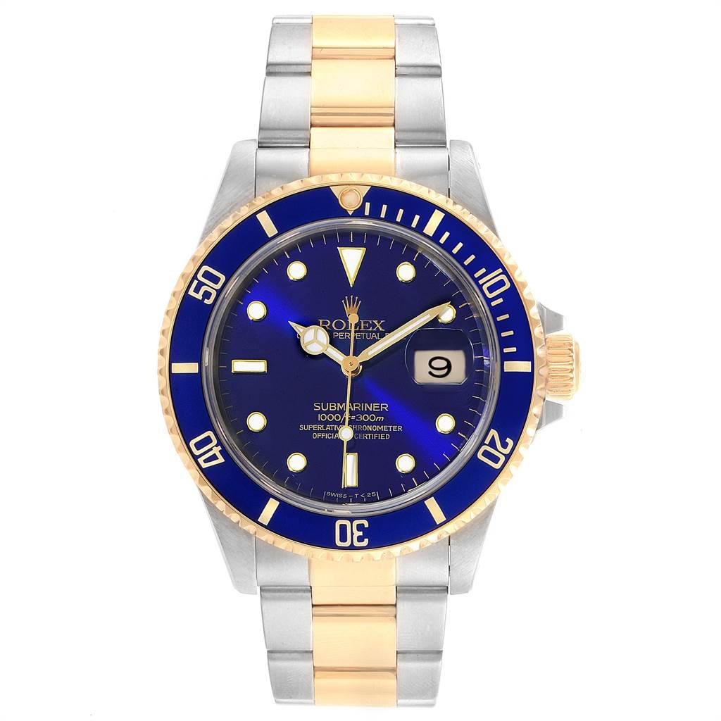 22518 Rolex Submariner Purple Blue Dial Steel Yellow Gold Mens Watch 16613 SwissWatchExpo