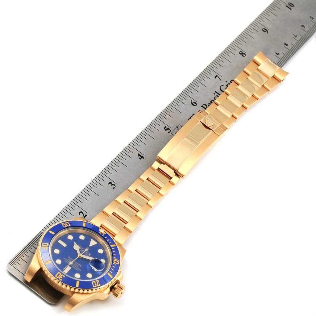 Rolex Submariner Yellow Gold Blue Dial Ceramic Bezel Mens Watch 116618 SwissWatchExpo