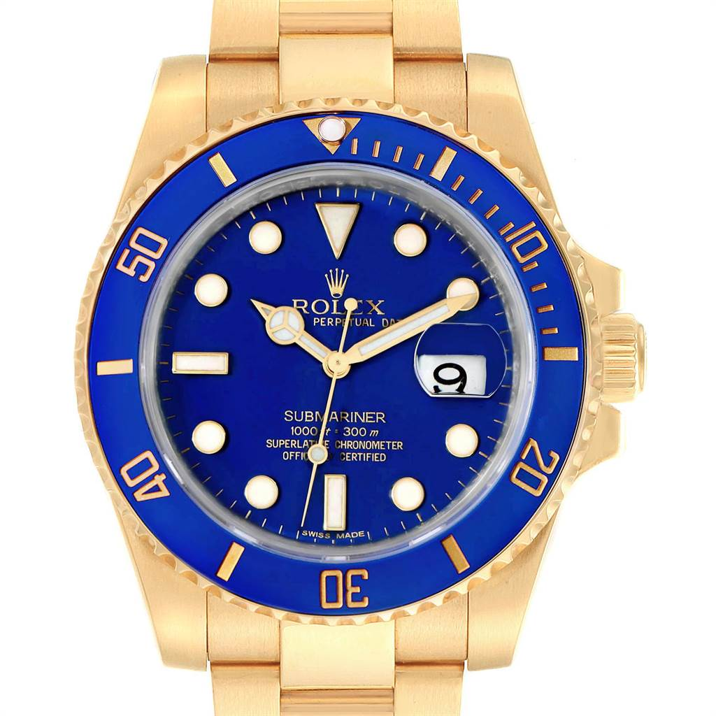 Rolex Submariner Yellow Gold Blue Dial Ceramic Bezel Mens Watch 116618