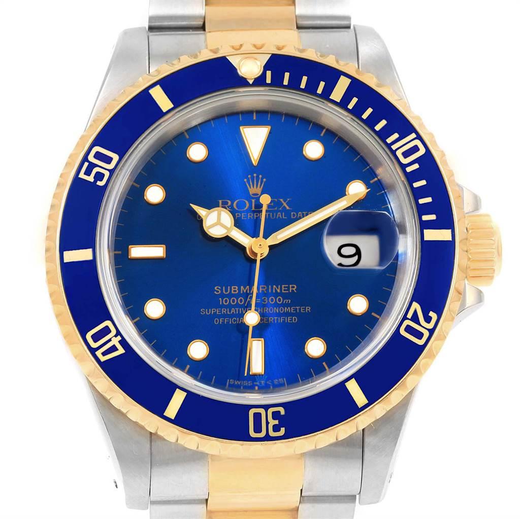 22517 Rolex Submariner Blue Dial Bezel Steel Yellow Gold Mens Watch 16613 SwissWatchExpo