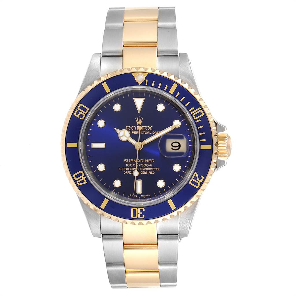 23503 Rolex Submariner Purple Blue Dial Steel Yellow Gold Mens Watch 16613 SwissWatchExpo