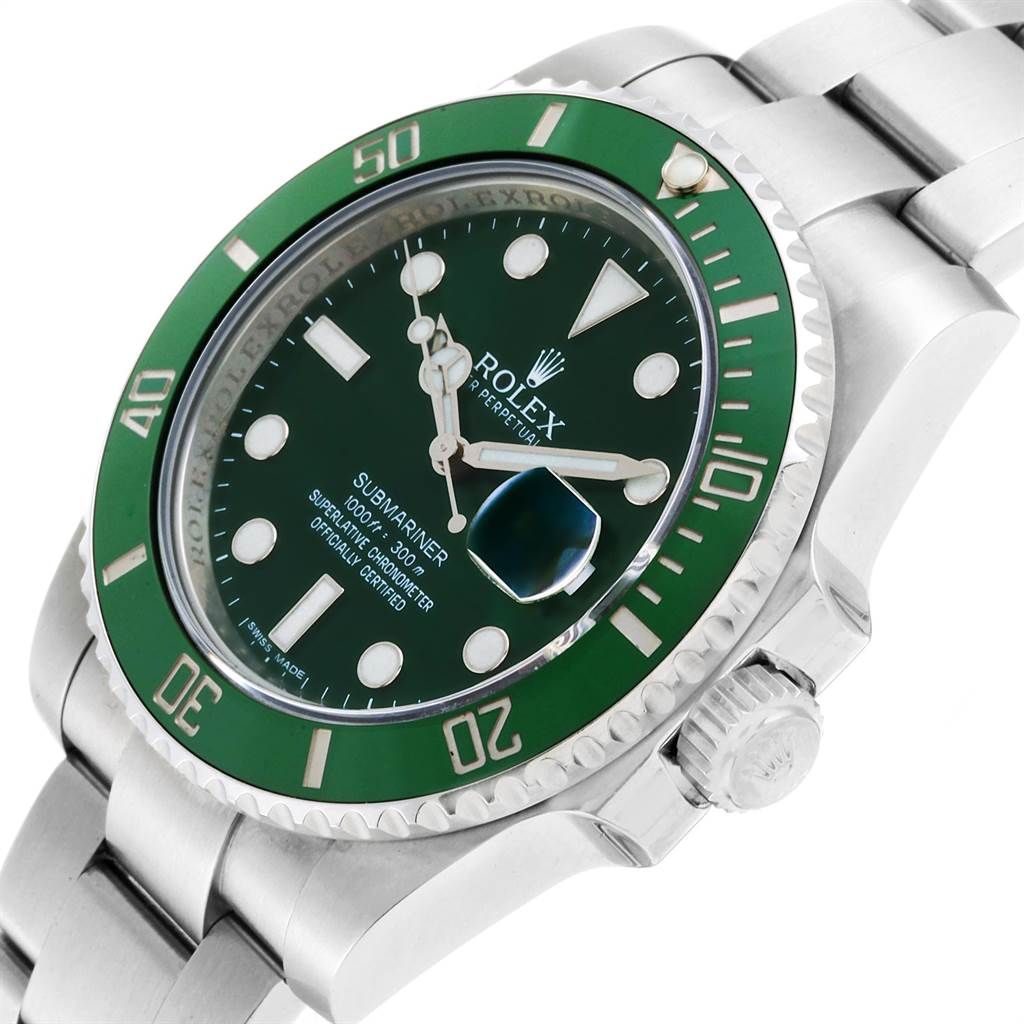 23901 Rolex Submariner Hulk Green Dial Bezel Steel Mens Watch 116610LV SwissWatchExpo