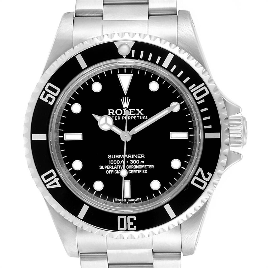 24059 Rolex Submariner NonDate 4 Liner Parachrom Hairspring Mens Watch 14060 SwissWatchExpo