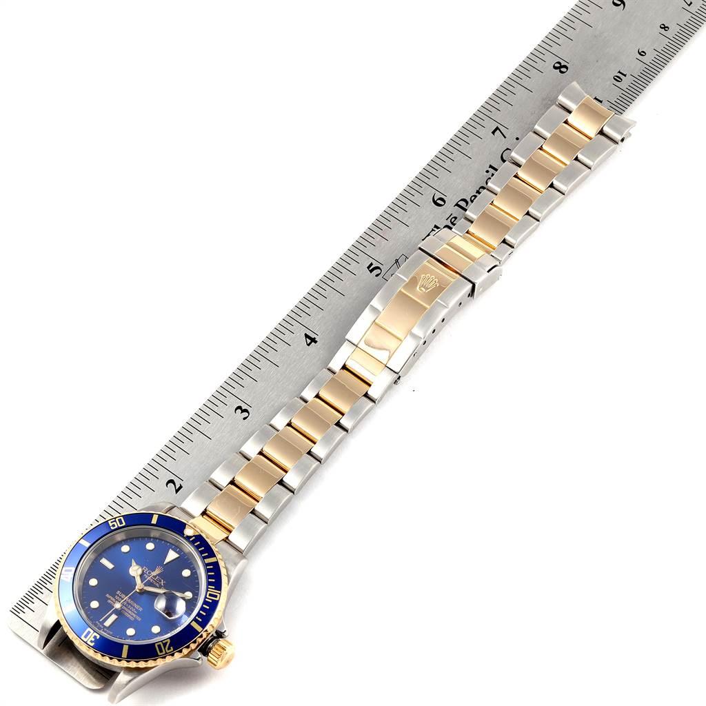 24011 Rolex Submariner Blue Dial Bezel Steel Yellow Gold Mens Watch 16613 SwissWatchExpo