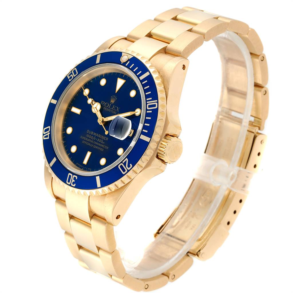 24159 Rolex Submariner 18K Yellow Gold Blue Dial 40mm Mens Watch 16618 SwissWatchExpo