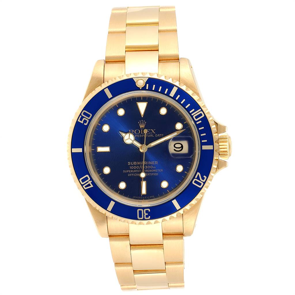 Rolex Submariner 18K Yellow Gold Blue Dial 40mm Mens Watch 16618 SwissWatchExpo