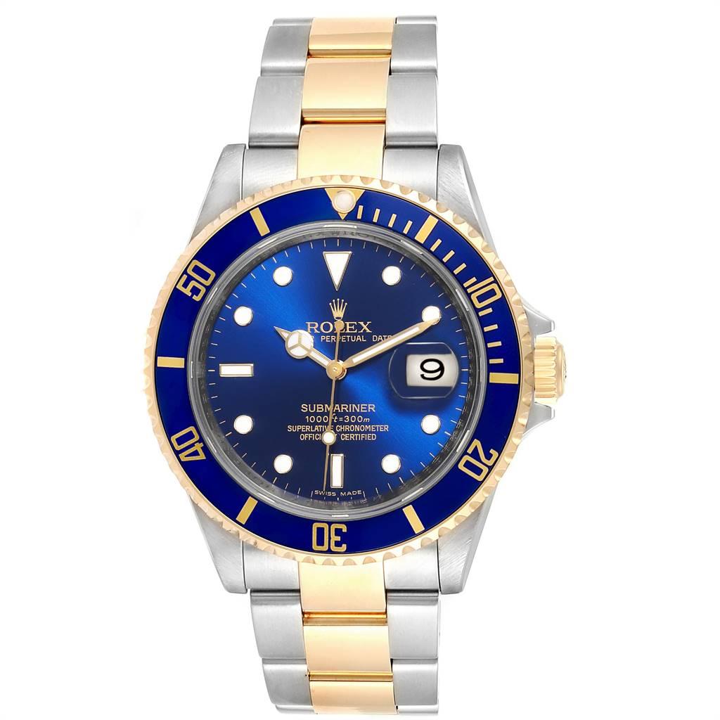 24066 Rolex Submariner Blue Dial Bezel Steel Gold Watch 16613 Box Card SwissWatchExpo